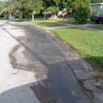 Hydraulic Fluid Stain Street Cleaning Before