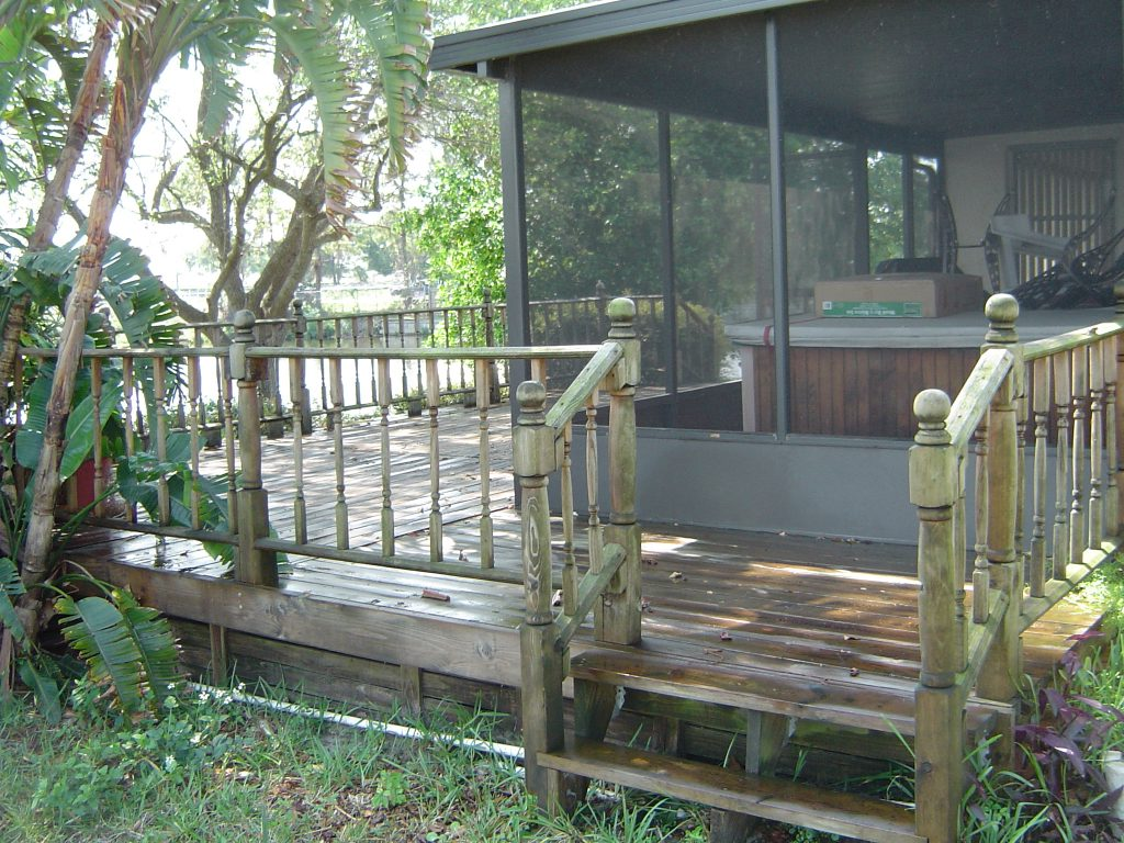 Low Pressure Wood Deck Cleaning Largo Florida Before